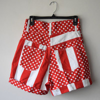 80s/90s High Waist Denim Shorts // Red & White // Stripes and Polka Dots // Nautical Preppy All American Girl Style, Back to School