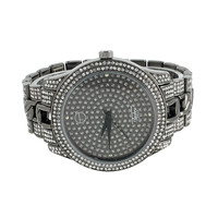 Black Watch White Simulated Diamond Design Band