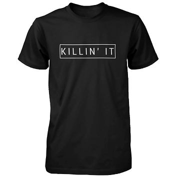 Killin' It Men's Graphic Shirts Trendy Black T-shirts Cute Short Sleeve Tees