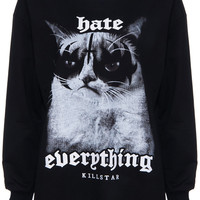ROMWE | Treacherous Cat Print Long Sleeve Black Sweatshirt, The Latest Street Fashion