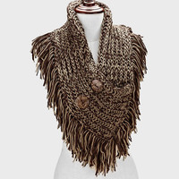 Knitted Infinity Fringe Button Brown Scarf