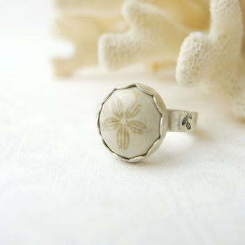 Sand Dollar Ring, Beach Theme Jewelry, Sterling Silver Rings for Women