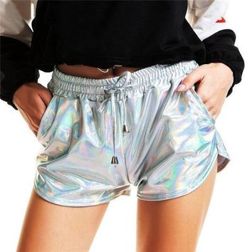 Sexy Metallic Color Drawstring Stretchy Shorts