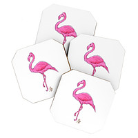 Madart Inc. Pinkest Flamingo Coaster Set