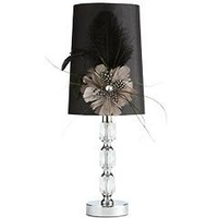 Product Details - Black Crystal & Feather Lamp