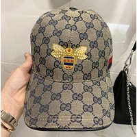 GUCCI New fashion stripe embroidery bee more letter sun protection cap hat