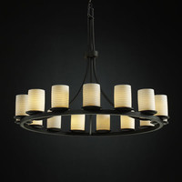 Justice Design Group POR871510SAWTMB Limoges Dakota 15-Light Matte Black One-Tier Ring Chandelier
