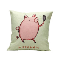 Sweet Pink Pig Cute Pillow Case Sofa Bed Home Decor Cushion Cover For kids Warmly Sense