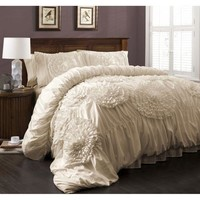 Calliope Rose 3 PC Ivory Flower Ruffle Comforter Bedding SET