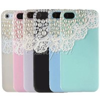 Cute Lovely Lace Pearl Ice Cream Hard Back Case Cover Skin For Apple iPhone 5 5G
