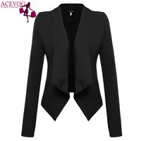 ACEVOG Women Blazer Coat For Autumn Winter Long Sleeve Jacket Coat Basic Elegant Lady Blazer Dark Red,Black Plus Size M,L,Xl,Xxl