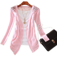 Popular Womens Lace Sweet Candy Color Crochet Knit Blouse Top Coat Sweater Sweaters Cardigan = 1958380548