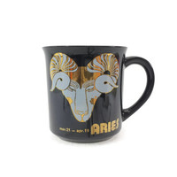 Vintage Aries Mug, Astrology, Zodiac Sign, March April Birthday, Black and Gold, Coffee Tea Cup, Ram, Astrological Sign, Gift Idea, Kitchen