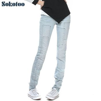 Sokotoo Women's all match light blue denim jeans Spliced bleach washed vintage pants Trousers cheap price high quality