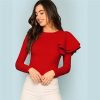 Red Modern Lady Weekend Casual Round Neck Zip Back Ruffle One Sleeve Long Sleeve Tee Women Tshirt Top