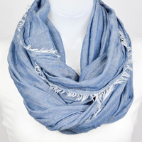 Frayed Infinity Scarf - Chambray Blue
