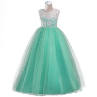 Nacolleo Girls Dress 5-14 Years Teens Party Prom Dress Summer Princess Lace Tulle Kids Graduation Costumes Floor Long Prom Dress
