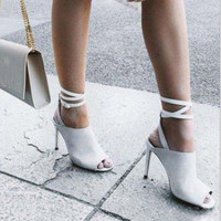 Fashion white bandage open-toed High-heeled sandals