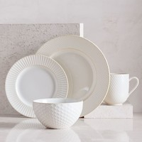 Textured Dinnerware Set - White