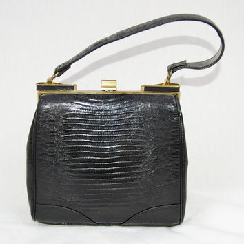 Vintage Lizard Reptile Purse in Black