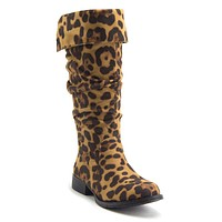 Little Toddler Girls Knee High Suede Zipped Fold Down Riding Boots