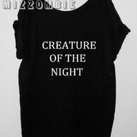 NIGHT CREATURE  Tshirt, Off The Shoulder, Over sized,   loose fitting, graphic tee, screen printed by hand, women's, teens.