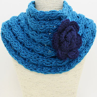 Flower Knit Infinity Turquoise Scarf