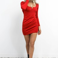 Too Fast Red Long Sleeve V Neck Dress