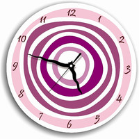 wall clock pink purple plum lavender swirls circles living room kitchen decor christmas gift holiday decor kids decor hostess hoousewaeming