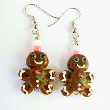 Glass Gingerbread Men Christmas Earrings