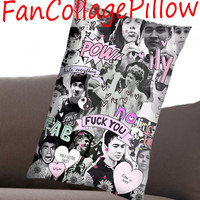 """Custom Pillow Cases luke hemmings collage 2,available size 18"""" x 18"""", 16"""" x 24"""", 20"""" x 30"""" one side and two side cover"""