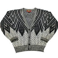 Vintage 1990s 90s Acrylic Cardigan Sweater with Leather Details Mens Retro Clothing Size L Large