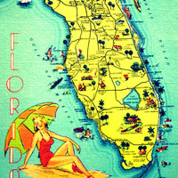 map photography SUNNY FLORIDA 8x10 art photo retro state map picture summer fun babe coastal decor 1940s orange aqua red yellow color