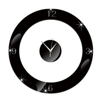 Home Decoration Wall Clock 3D Mirror Circle Sticking    black