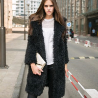 Beautiful Faux Rabbit Fur Collar Long Coat