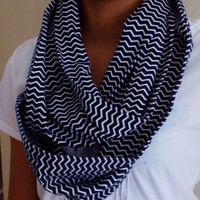 Flannel Chevron Infinity Scarf. Navy and Off White Flannel Scarf. Adult Size Infinity Scarf.