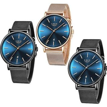 LIGE Womens Casual Ultra Thin Stainless Steel Watch with Blue Face