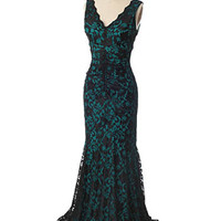 Teal Ruched Black Lace Bombshell Evening Gown
