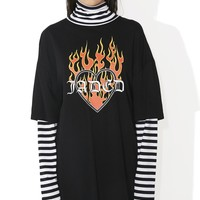 Flame Heart Striped Layer Dress