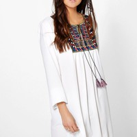 Una Embroidered Yoke Dress