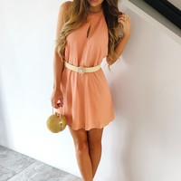 Fine By Me Dress: Peachy Pink