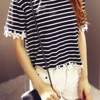 Black and White Striped Tee with Floral Hemline