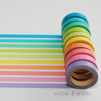 mini & skinny rainbow washi set of 10