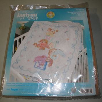 Janlynn Sleepy Bunnies Baby Quilt Kit Stamped Cross Stitch No Floss Included