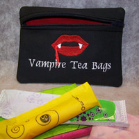 Vampire Tea Bags Tampon & Maxi Pad Bag Zippered Fabric Purse Pouch / Tampon Keeper