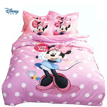 Disney Minnie mouse Mickey comforter Sets 3/4/5 Pieces 3d bed linens Twin Single Queen King Sizes Bedding Set children girl gift