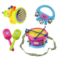 5pcs Educational Baby Kids Roll Drum Musical Instruments Band Kit Children Toy Baby Kids Gift Set Free Shipping