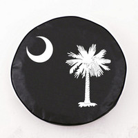 Holland Bar Stool South Carolina State Flag Tire Cover in Black