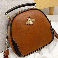 Fashion New Bee  Leather Shopping Leisure Shoulder Bag Handbag Crossbody Bag Women Brown