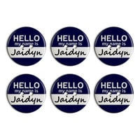 Jaidyn Hello My Name Is Plastic Resin Button Set of 6